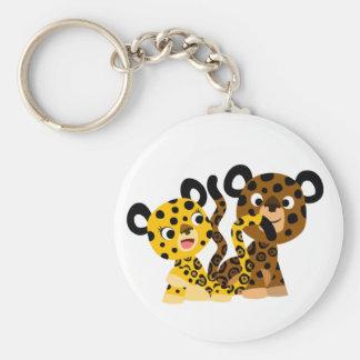 Cute Flirtatious Cartoon Jaguars Keychain