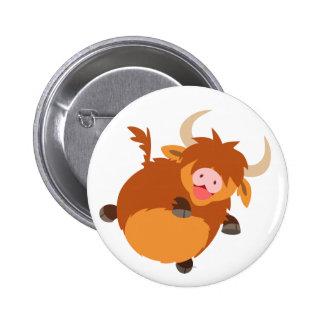 Cute Floating Cartoon Highland Cow Button Badge