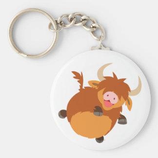Cute Floating Cartoon Highland Cow Keychain