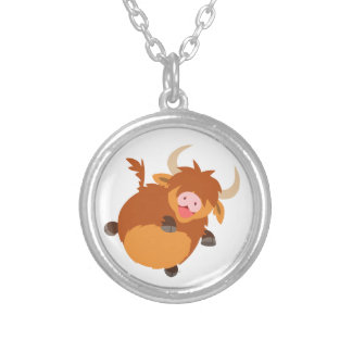 Cute Floating Cartoon Highland Cow Necklace