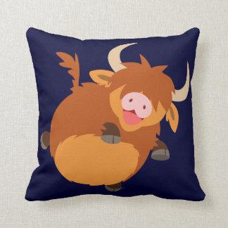 Cute Floating Cartoon Highland Cow Pillow