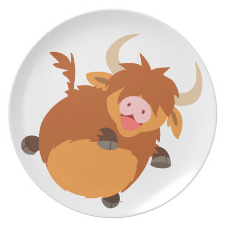 Cute Floating Cartoon Highland Cow Plate