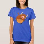 Cute Floating Cartoon Highland Cow Women T-Shirt