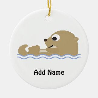 Cute Floating Otter Ceramic Ornament