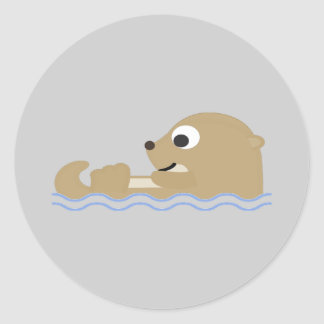 Cute Floating Otter Classic Round Sticker