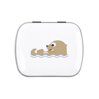 Cute Floating Otter Jelly Belly Candy Tin