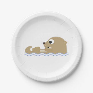 Cute Floating Otter Paper Plate