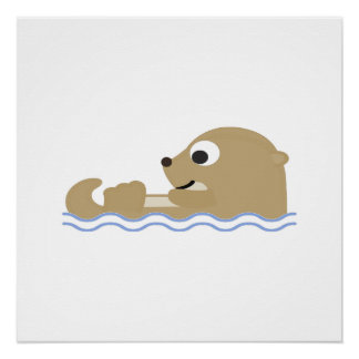 Cute Floating Otter Poster