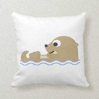 Cute Floating Otter Throw Pillow