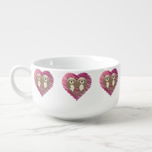 Cute Floating Otters in Love Soup Mug