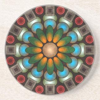 Cute Floral Abstract Vector Art Sandstone Coaster