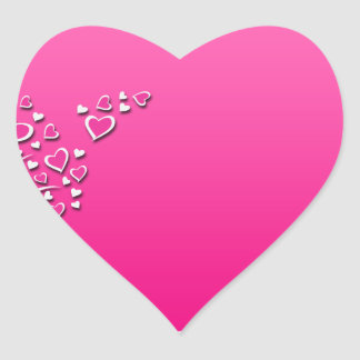 Cute floral and hearts on pink background heart sticker