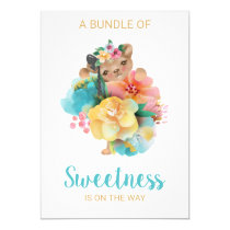 *~* Cute Floral Bear Baby Shower Invitation