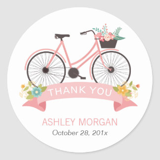 Cute Floral Bicycle Blush Pink Thank You Classic Round Sticker