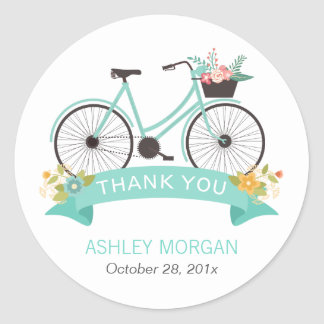 Cute Floral Bicycle Pastel Mint Green Thank You Classic Round Sticker