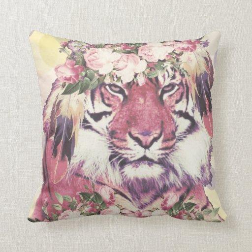 Cute Bohemian Throw Pillows : Cute floral boho tiger throw pillow Zazzle