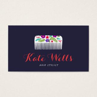Cute Floral Bomb HairStylist Comb Hair Salon Business Card
