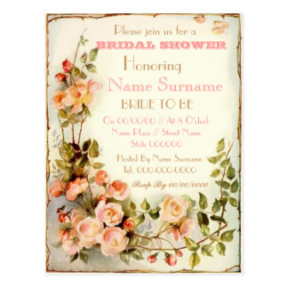 cute floral bridal shower invitation postcard