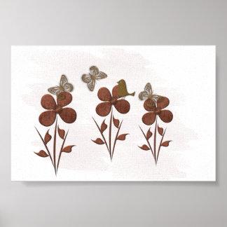 Cute Floral Butterfly Bird Wedding Baby Nursery Poster