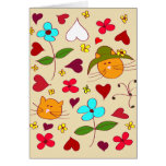 Cute Floral Cat Flower Hat 2 Greeting Card