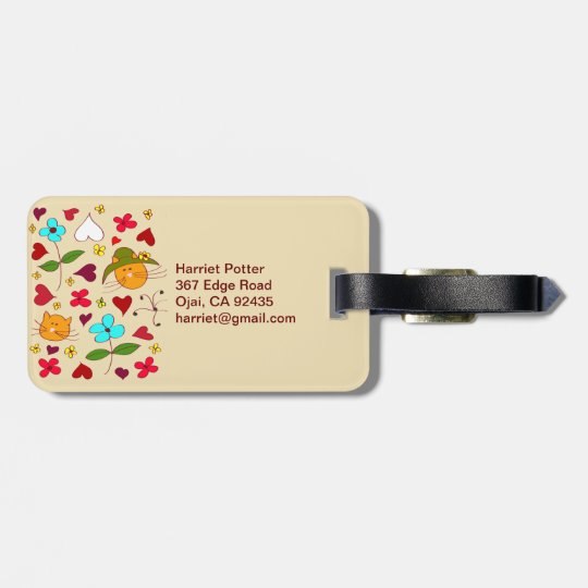 Cute Floral Cat Flower Hat 2 Luggage Tag