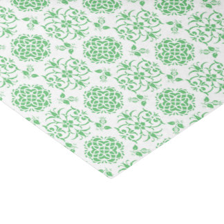 "Cute Floral Damask Stylie Pattern Green and White 10"" X 15"" Tissue Paper"
