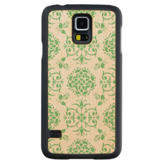 Cute Floral Damask Stylie Pattern Green and White Carved Maple Galaxy S5 Slim Case