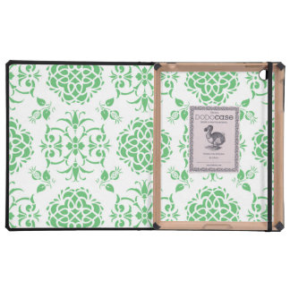 Cute Floral Damask Stylie Pattern Green and White Case For iPad