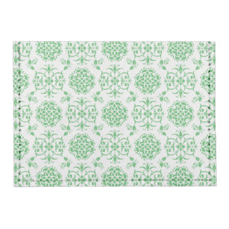 Cute Floral Damask Stylie Pattern Green and White Tyvek® Card Wallet