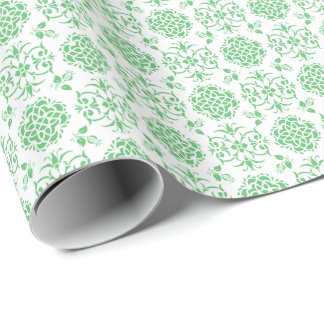 Cute Floral Damask Stylie Pattern Green and White Wrapping Paper