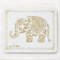 Cute Floral Elephant & Frame Gold Glitter On White Mouse Pad