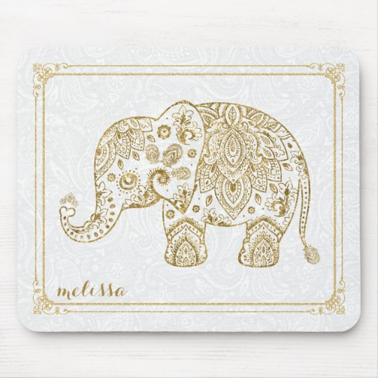 Cute Floral Elephant & Frame Gold Glitter On White Mouse Pad ...