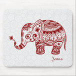"Cute Floral Elephant In Burgundy Red Mouse Pad<br><div class=""desc"">Cute floral elephant in burgundy red color. 4 different colors available and any color can be requested by email.</div>"