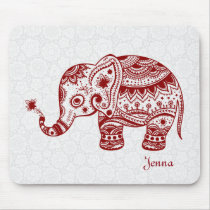 Cute Floral Elephant In Burgundy Red Mouse Pad