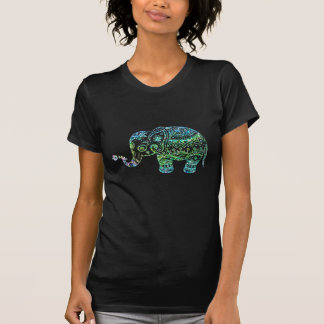 Cute Floral Elephant In Green Tones Faux Glitter T Shirts
