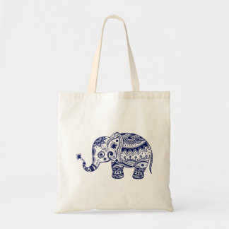 Cute Floral Elephant In Navy Blue Budget Tote Bag
