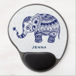 "Cute Floral Elephant In Navy Blue Gel Mouse Pad<br><div class=""desc"">Cute floral elephant navy blue color. 4 different colors available and any color can be requested by email. If you need any help customizing any of my designs,  contact ArtOnWear designer. Free text formatting with live help available by request.</div>"
