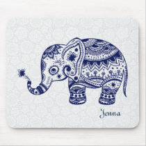 Cute Floral Elephant In Navy Blue Mouse Pad