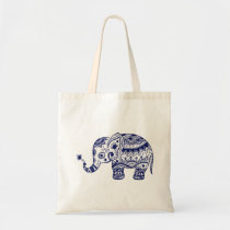 Cute Floral Elephant In Navy Blue Tote Bag