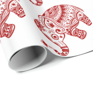 Cute Floral Elephant In White Burgundy Red Wrapping Paper