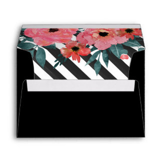 Cute floral gold and stripes design envelope