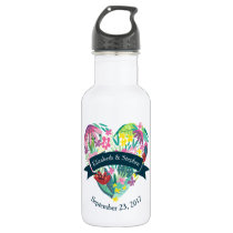 Cute Floral Heart with Tropical Flowers Wedding Water Bottle