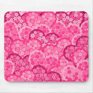 Cute floral hearts in pink mouse pad