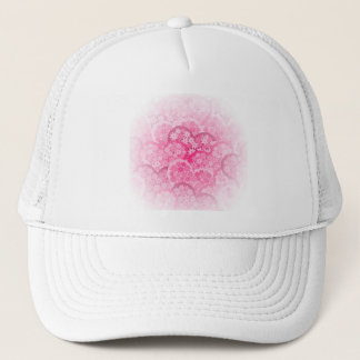 Cute floral hearts in pink trucker hat
