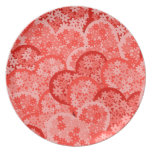 Cute floral hearts in red plates