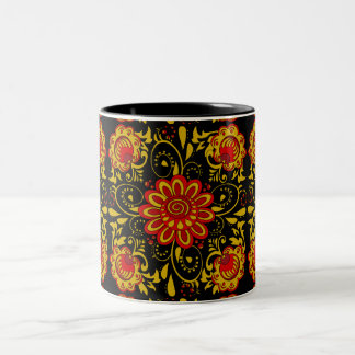 Cute floral  Khokhloma,folk art Two-Tone Coffee Mug