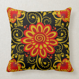 Cute floral,khokhloma style throw pillow