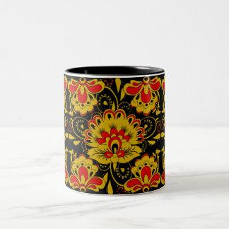CUTE FLORAL khokhloma style Two-Tone Coffee Mug