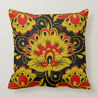 Cute floral,khokhloma throw pillow
