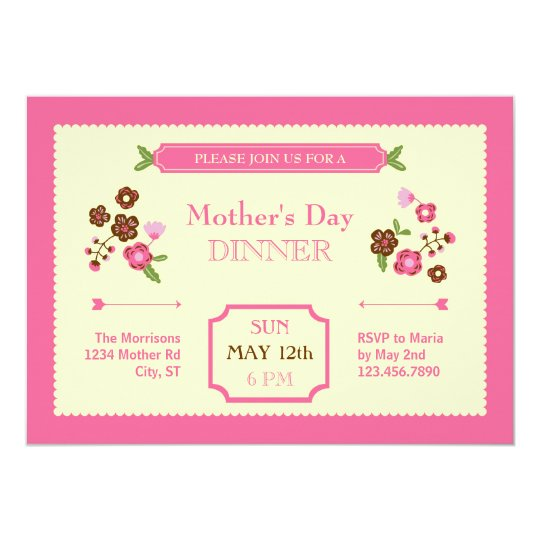 cute floral mother s day invitation zazzle com
